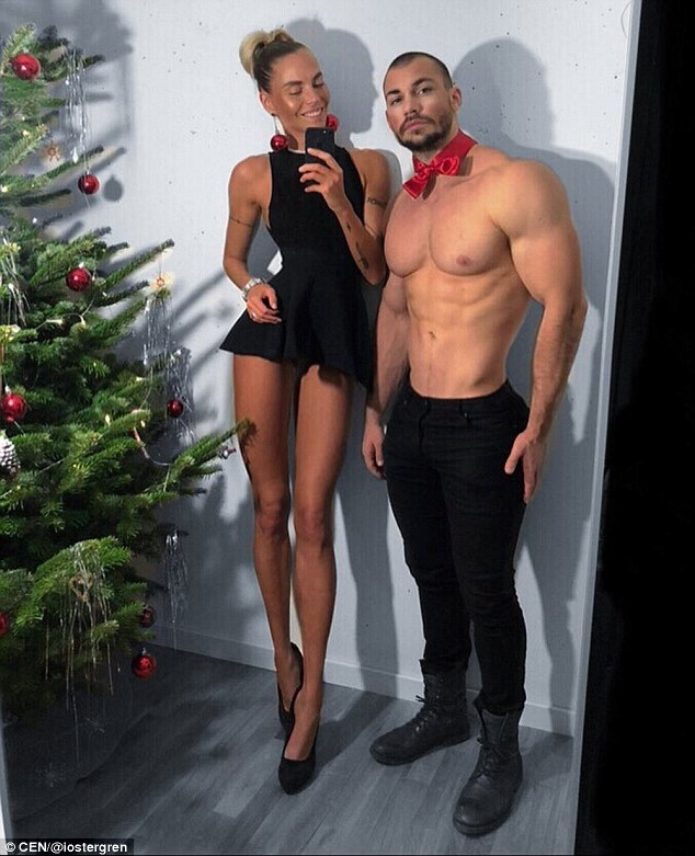 Same height, different proportions: The 34-year-old is married to Swedish star bodybuilder Torbjorn Ostergren, who is also 5ft 10in... but has much shorter legs