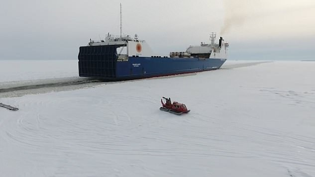 He performed the daring stunt off the coast of Hailuoto in Finland where the land is covered in ice and snow