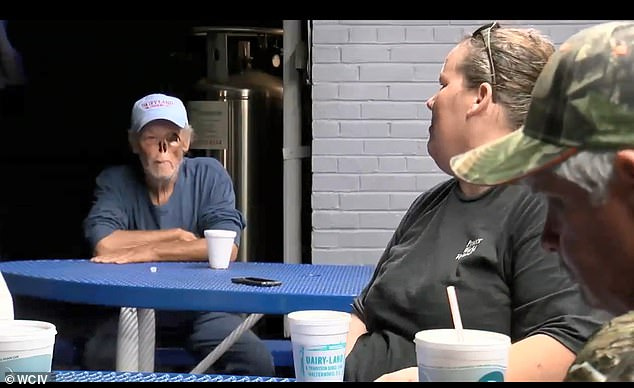 Cancer survivor Kirby Evans, 65, who is missing his left eye and his nose, was was told to either cover up or get out when he went to Forks Pit Stop store in Walterboro on Monday; Kirby is seen here at