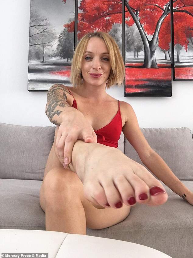 Roxy Sykes works as a foot fetish model earning up to £8,000 a month selling her used trainers and socks online