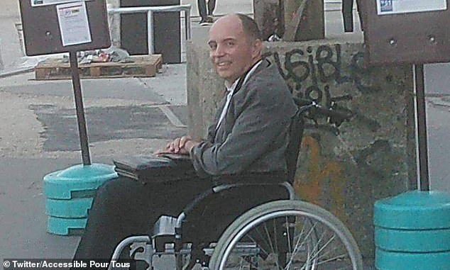 Francois Le Berre, pictured, who has multiple sclerosis, could not get on a Paris bus because other passengers refused to move, until the driver forced everyone else off