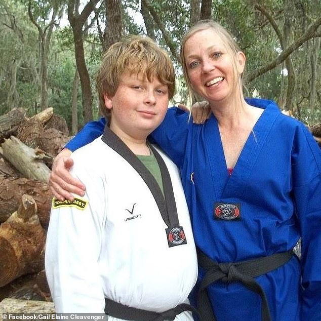 Gregory Logan Ramos, 15, (left) argued with his mother, Gail Cleavenger, 46, (right) at their home in DeBary, Florida after he got a D grade at school. He strangled her to death later and buried her body on the grounds of a nearby church, police say