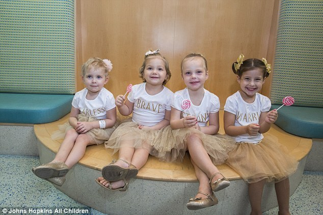 One-year reunion: The girls (L-R) Ava, Lauren, McKinley and Chloe in their first reunion shot, September 2017, at their hospital