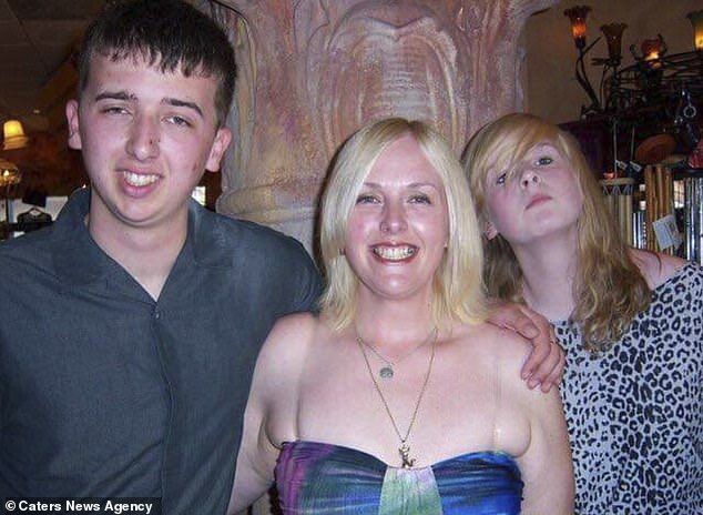 Brandon, left, mother Janet, centre, and sister Olivia Hutchinson pictured in 2010. Brandon molested his little sister for nine years beginning when she was just three years old
