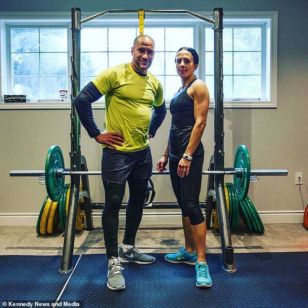 Father-of-three John DePass, 46, pictured with wife Dora, 45, dedicated 30 years of his life to bodybuilding, but after developing chronic pain three years ago chose to overhaul his lifestyle
