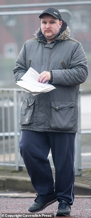 A father trapped online paedophile Blake Pitchford whilst posing at his 11-year old daughter. Pitchford is pictured leaving Bolton Crown Court