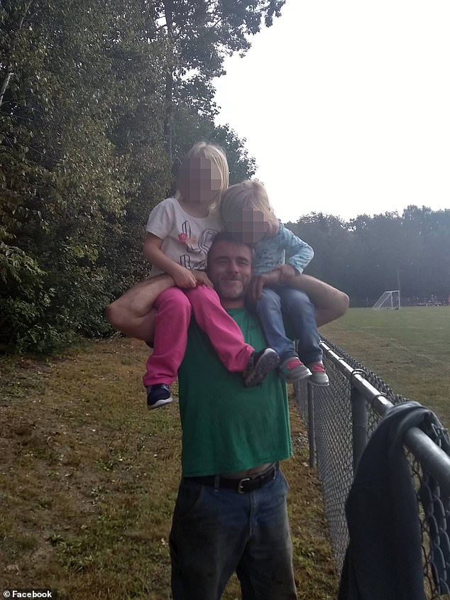 Sam Crawford (pictured above with his children) re-entered the burning house to look for his dog after escaping the fire with his family