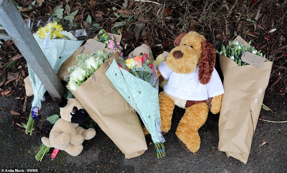 Neighbours and relatives laid flowers and soft toys at the scene today as they paid tribute to the