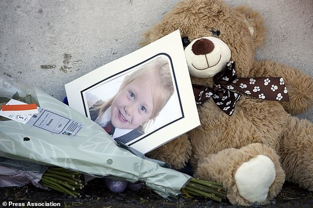 A school photograph of Alesha MacPhail was placed among tributes last July after her death