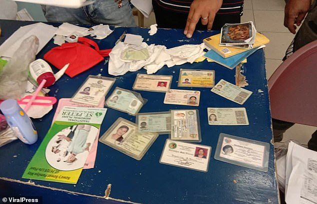 Bustamante was found in possession of a dozen stolen ID cards belonging to other women when she was arrested (pictured)