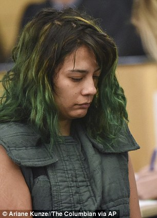 Emily Javier is pictured during a court appearance in March 2018 having slashed her boyfriend with a Samurai sword earlier on that day