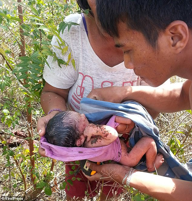 The infant, with her scalp still wet, was heard crying by a woman walking along a dirt track in Olango Island, on Tuesday morning